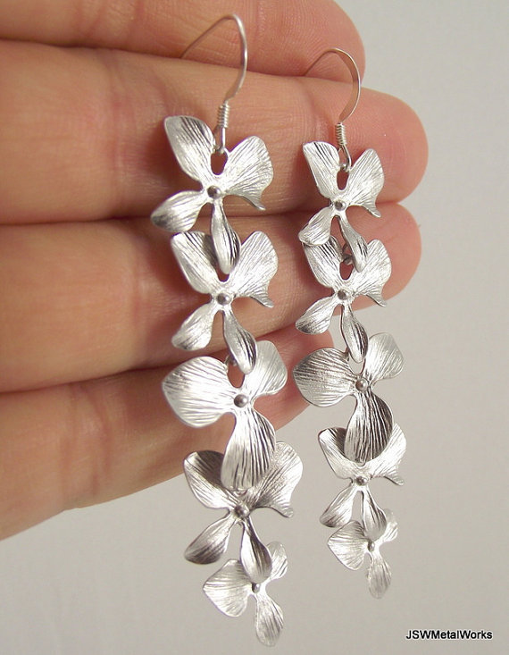 Long Cascading Orchid Earrings, Silver Earrings