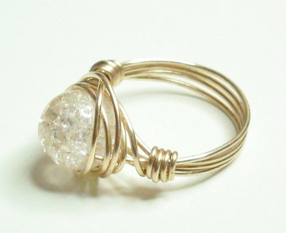 Clear Crackle and Gold Wire Wrapped Ring
