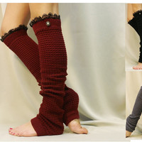 Dancer ballerina yoga extra long leg warmers womens -3 colors- popcorn texture, lace buttons by Catherine Cole Studio legwarmers