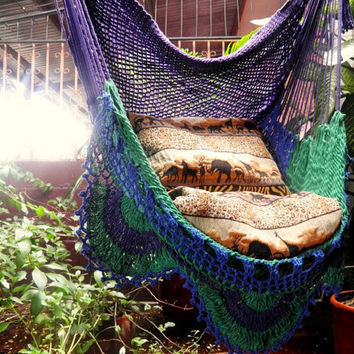 Tricolor Sitting Hammock, Hanging Chair Natural Cotton and Wood plus Simple Fringe