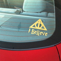 "Harry Potter Deathly Hallows I Believe Custom Made Vinyl Decal Sticker - 4"" x 4.37"" - 28 Color Options"