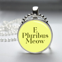 Glass Pendant Bezel Pendant E Pluribis Meow Cat Pendant Funny Cat Necklace Photo Pendant Art Pendant Ball Chain (A3920)