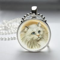 Round Glass Pendant Bezel Pendant Cat Pendant White Cat Necklace Photo Pendant Art Pendant With Silver Ball Chain (A3923)