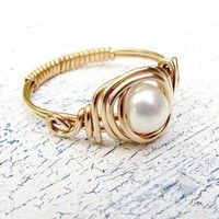 Fresh Water Pearl 12k Gold Filled Ring