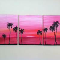Abstract Beach silhouette- ORIGINAL ACRYLIC on CANVAS