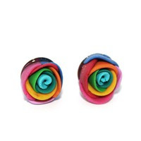 Rainbow Rose Polymer Clay Earrings - by sew340 on madeit
