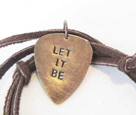 Guitar Pick Jewelry - mens necklace with guitar pic - Let it Be - rustic natural