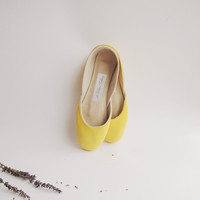 new. Soft leather ballet flats. Sweet lemon. made to order.