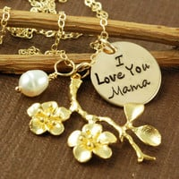 Hand Stamped Necklace, Personalized Jewelry, Flower Pendant, Pearl, Mommy Jewelry, 14kt Gold Hand Stamped Jewelry