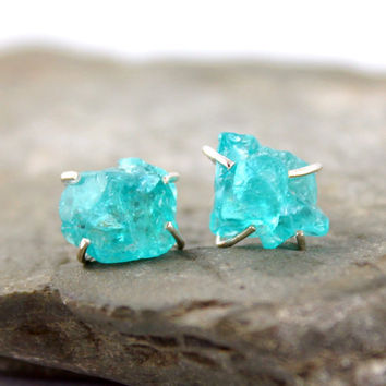 Uncut Raw Rough Apatite Earrings - Sterling Silver Stud Style Earrings - Handmade and Designed by A Second Time