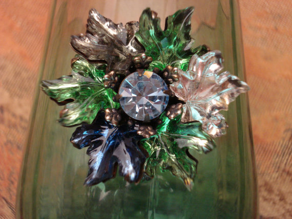 Vintage Maple Leaf Brooch / Maple Leaf Jewelry / Green Glass Leaves / Blue Glass Leaves TREASURY ITEM
