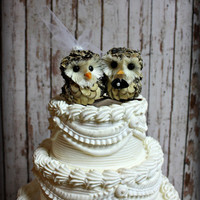 Owl Wedding Cake Topper-Owls-Woodlands Wedding Cake Topper 4&quot; wide(side by side) x 3&quot; tall