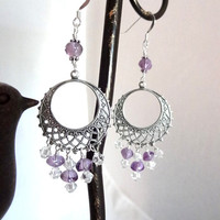Silver handmade Amethyst crystal purple dangle earrings jewelry beads Sterling Silver Circle