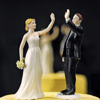 High Fiving Bride and Groom Figurines