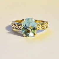 Blue topaz sterling ring December birthstone