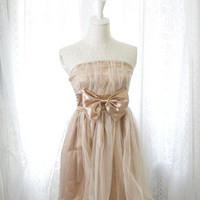 Strapless party cocktail dress champagne brown satin tutu tulle smocked back women dreamy romantic