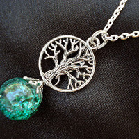 Tree of Life Green Crackle Glass Marble Chain Boho Necklace