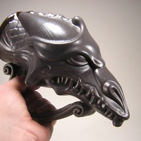 Snarly Tooth Dragon Rhyton Beer Mug - Satin Black - 220z