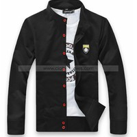 Men Stand Collar Cultivation Spring/Fall Black Cotton Coat M/L/XL/XXL/XXXL@datw02b - Mens Outerwear - Men  - ClothingTalks Online Shopping