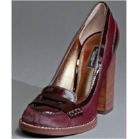 Dolce & Gabbana wine calf hair and patent penny loafer pumps