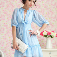 Ladylike and Charming Puff Sleeves Solid Color Chiffon Dress For Women 3 Colors