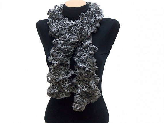 Hand knitted Gray ruffled scarf with colorful sequins