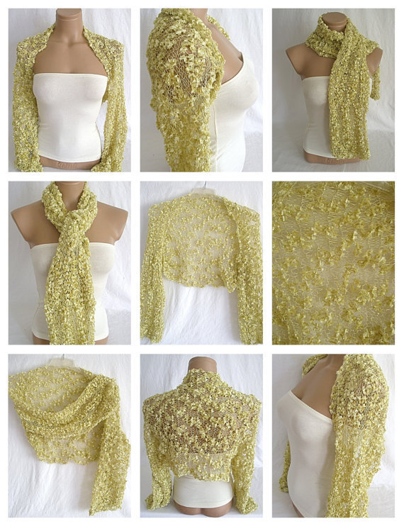 Hand knitted gold bolero shrug