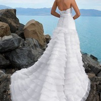 Wholesale Beach A-line Strapless Ruched Bodice White Organza Wedding Dress Style JD1386  ,for $248.99 only in VikiDress.com.