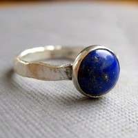 Lapis lazuli and sterling silver solitaire by littlebugjewelry