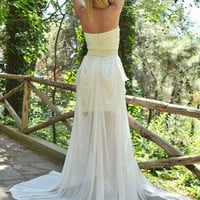 Wedding Dress Lacen Ivory Vintage Gown - Maxi - Handmade by SuzannaMDesigns / Free Shipping