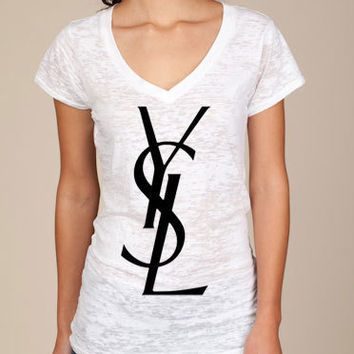 YSL Logo Womens Burnout White T-Shirt Small