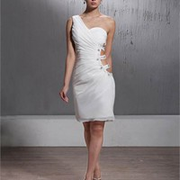 Sexy One Shoulder With Beaded Side and Back Cut Short Prom Dress PD1933