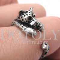 Miniature Leopard Animal Wrap Around Ring in Silver - Sizes 4 to 9 available