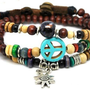 10%OFF Discount Blue Anti-war peace peaceful Brown Wooden Beadeds Wrap Bracelet,  Colorful Jewelry Beaded Bracelets 584S