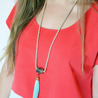 Leather Tassel Necklace. Aqua blue leather tassel attached on vintage curtain finding with gold rope. Easy to wear style