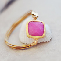 JULY fashion sweet bright candy pink jade  large stone in gold frame gemstone handmade  bracelet gold leather cord israel jewelry