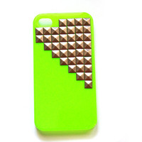 Neon Green cellphone cover with Gold Studs, cellphone cover, Hard case, iPhone Cover, cover for Android,trendy, iPhone 4s, iPhone 4,