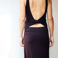 Long maxi dress wrapping back, open back, fairy, goddess dress, in dark brown, XS size