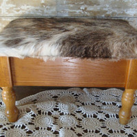 Vintage Wooden Cowhide Bench With Storage