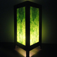 Asian Oriental New Green Leaves Art Bedside Floor or Table Lamp Lighting Shades