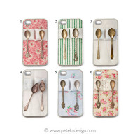 You Choose -iPhone 4 / 4s Case. Whimsy Shabby Vintage Spoons. Unique colorful Accessory. Wedding / Anniversary Gift by PetekDesign