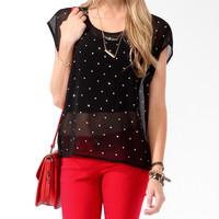 Sheer Rhinestoned Boxy Top