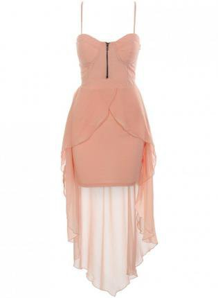 Chiffon Light Pink Sleeveless High-Low Dress with Cutout Bac
