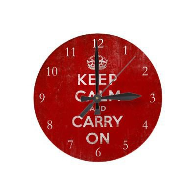 Keep Calm and Carry On, Vintage Wall Clock from Zazzle.com