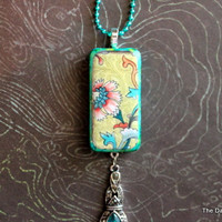 Vintage Japanese Floral Altered Art Domino Necklace