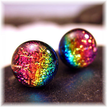Tiny Dichroic Cha Cha Rainbow Fused Glass Post Earrings