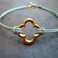 Mint Green Leather Gold Quatrefoil Clover Bracelet