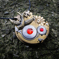 Brass Summer Necklace -- Antique Steampunk Movement Pendant