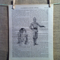 R2-D2 and C-3PO print on antique book page. star wars. robots. friends. droids