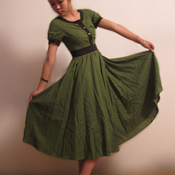 Tidal - green linen long dress (MM53)